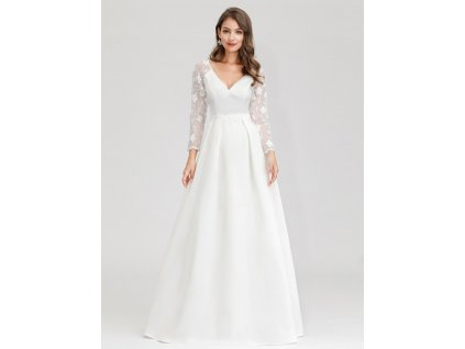 Dlouhé svatební šaty s dlouhým rukávem