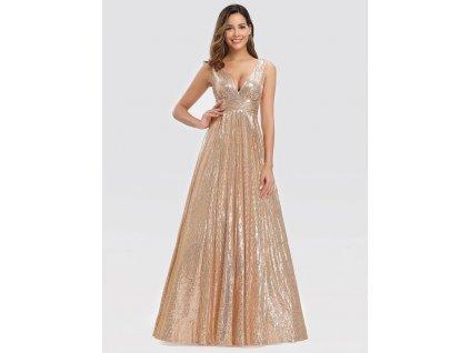 Dlouhé šaty s flitry růžová zlatá