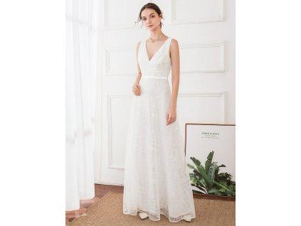 Dlouhé bílé šaty na široká ramínka