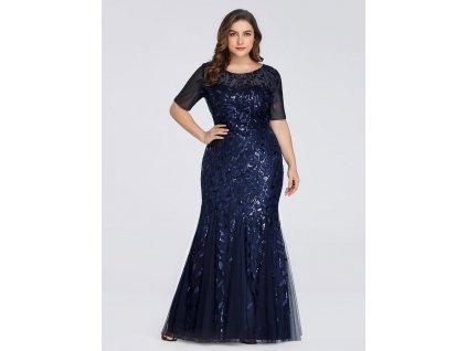 Dlouhé tmavě modré šaty střihu mořská panna