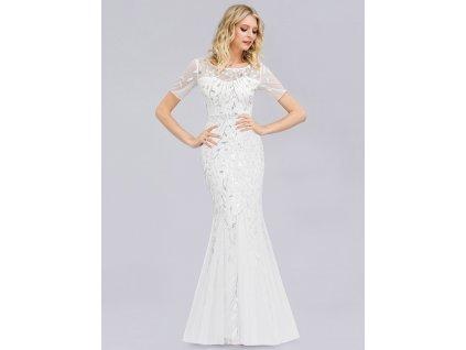 Dlouhé bílé šaty mořská panna s krátkým rukávem