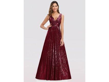 Dlouhé bordo šaty s flitry