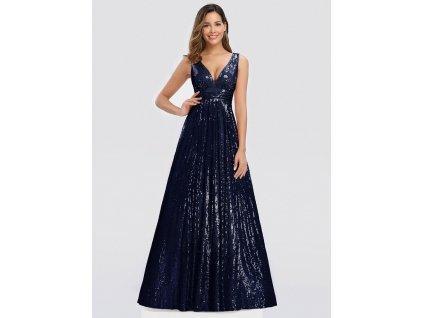 Dlouhé modré šaty s flitry a velkým výstřihem