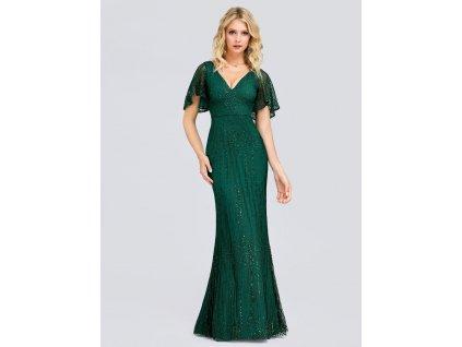 Dlouhé zelené šaty slim střih s flitry