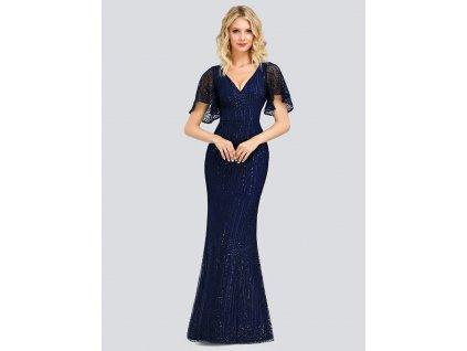 Dlouhé modré šaty mořská panna s flitry