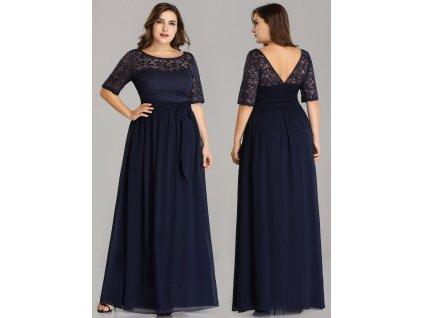 Dlouhé tmavě modré šaty s krajkou