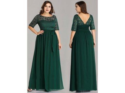 Dlouhé zelené šaty s krajkou