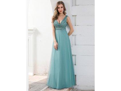 Dlouhé tyrkysové šaty s velkým výstřihem a flitry