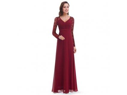 Dlouhé bordo šaty s dlouhým rukávem a véčkovým výstřihem