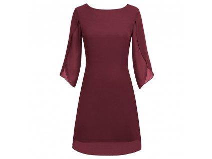 bordo šaty s rukávy