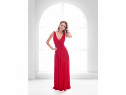 dlouhé červené šaty s korálky 1678