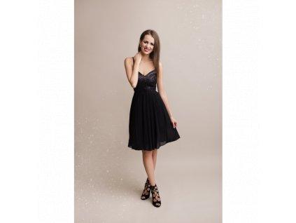 černé šaty s flitry krátké