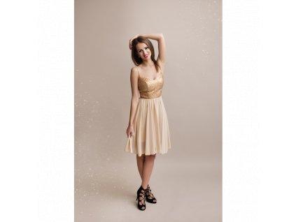 zlaté šaty s flitry krátké 1330