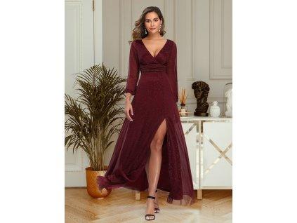 Dlouhé bordo šaty s rozparkem a dlouhým rukávem