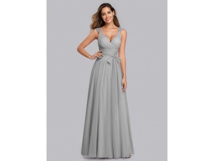 Tylové dlouhé šedé šaty