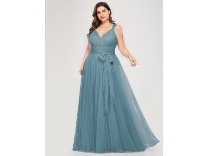 Dlouhé tylové šaty pastelové modré