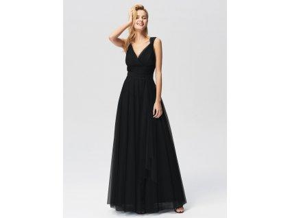 Dlouhé černé tylové šaty