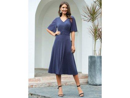 Lesklé šaty s krátkým rukávem a midi délkou