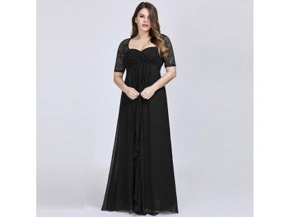 Dlouhé černé šaty s velkým výstřihem a rukávem
