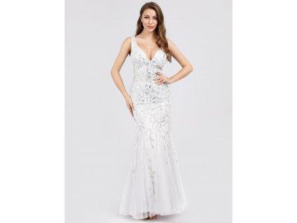 Dlouhé svatební šaty s velkým výstřihem a střihem mořské panny