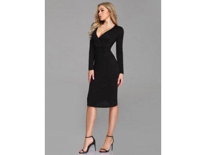 Krátké černé šaty pod kolena s dlouhým rukávem