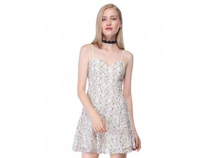 krátké letní šaty krémové barvy na špagetová ramínka
