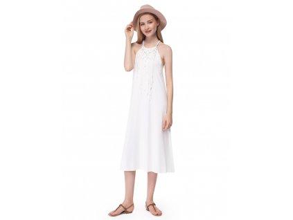 Krémové šaty midi délky