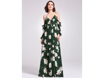 Dlouhé zelené letní šaty na špagetová ramínka