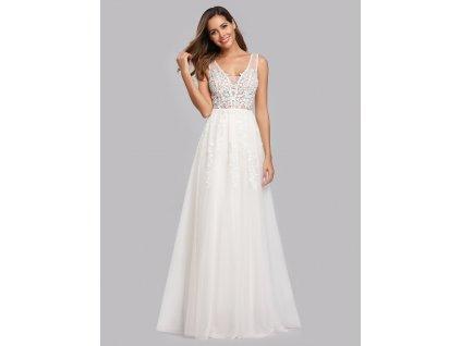 Svatební bílé šaty z tylu s výšivkou
