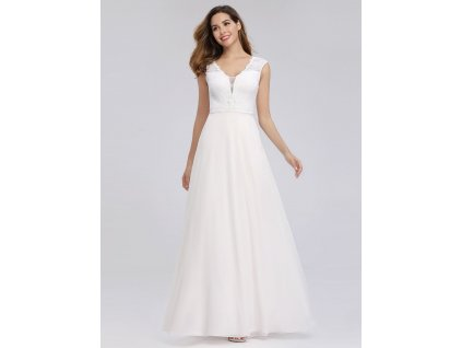 Svatební bílé šaty s krajkou a velký výstřih