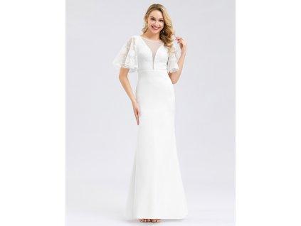 Dlouhé bílé šaty s krátkým rukávem