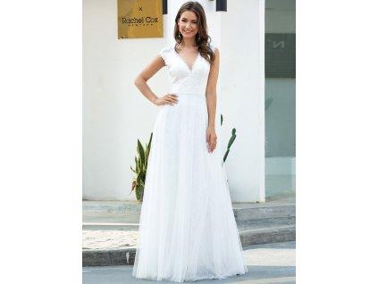 Dlouhé bílé svatební šaty s krajkou, tylovou sukní a výšivkou.