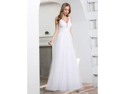 Dlouhé bílé šaty s velkým výstřihem a zdobením