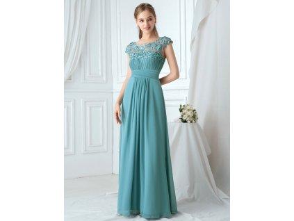 Dlouhé pastelové modré šaty s krajkou