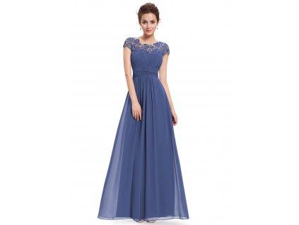 Dlouhé modro šedé šaty s krajkou a rukávkem