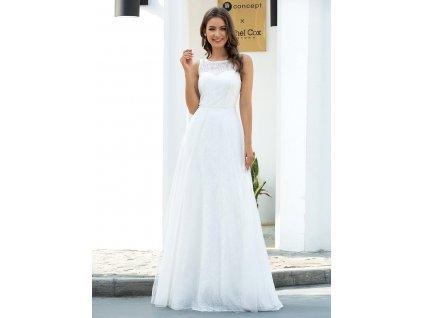 Dlouhé bílé šaty široká ramínka, výšivka, perličky