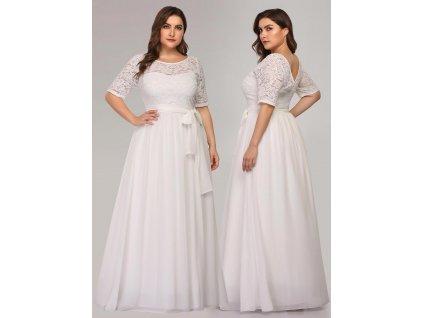 Dlouhé bílé šaty s rukávem a krajkou