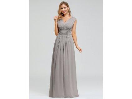 Dlouhé šedé šaty velký výstřih široká ramínka