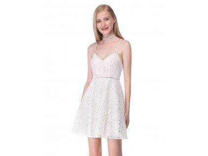 Krátké letní šaty s krajkou a špagetová ramínka