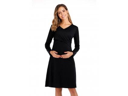 Krátké černé těhotenské šaty s dlouhým rukávem