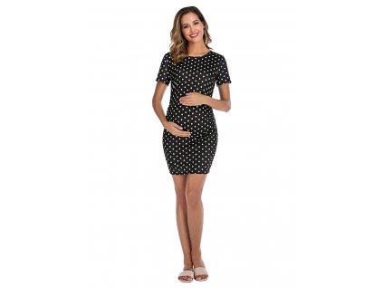 Těhotenské černé šaty s puntíky