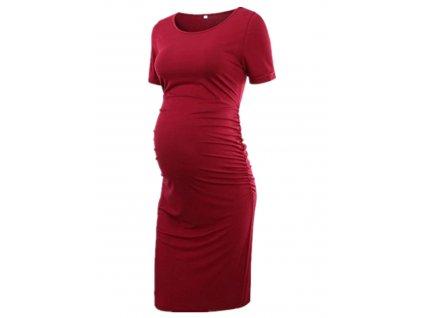 Těhotenské midi šaty s krátkým rukávem