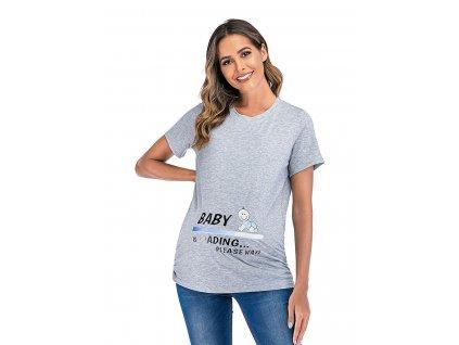 Těhotenské šedé triko s krátkým rukávem