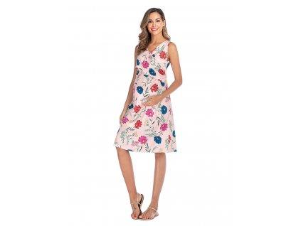 Letní těhotenské šaty růžové s květy
