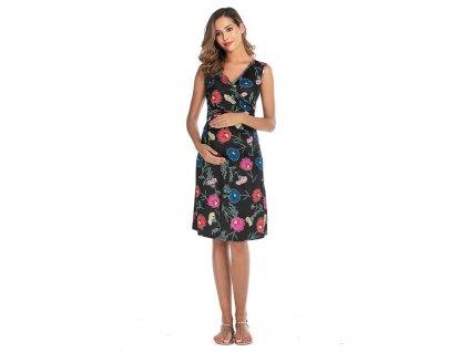 Krátké letní těhotenské šaty s květy