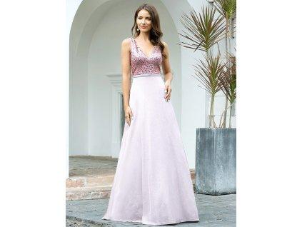 Dlouhé růžové šaty s flitry