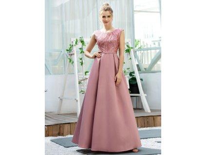Dlouhé růžové šaty s flitry a saténová sukně