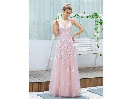 Luxusní dlouhé růžové šaty s výšivkou