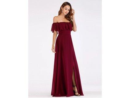 romantické šaty bordo s volánem