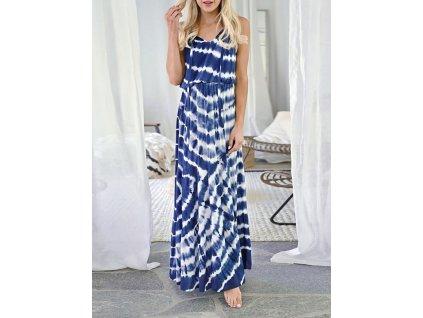 Letní šat dlouhé bílo modré